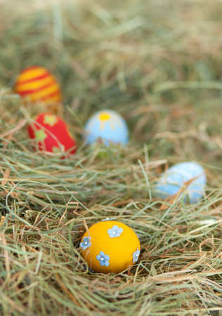 Painted colorful Easter eggs in hay