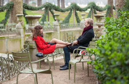 Romantic couple having a date in park photo