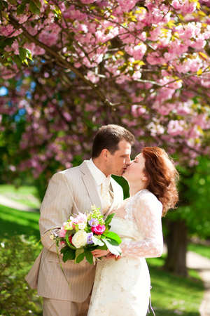 Just married couple is kissing under beautiful blooming tree photo