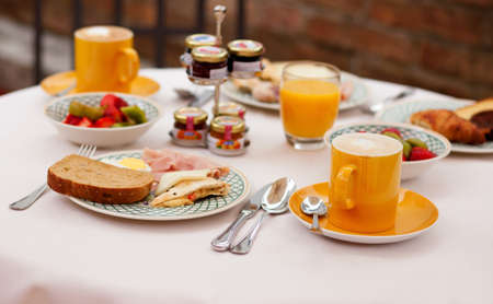 breakfast hotel: Delicious breakfast served for two Stock Photo