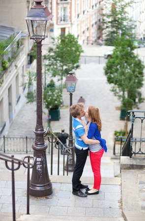 Romantic date in Paris, on the streets of Montmartre photo
