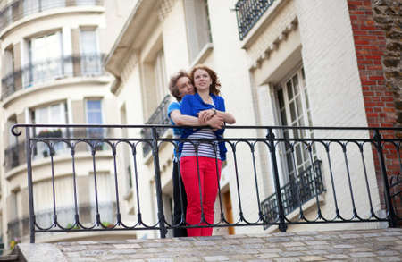 Young couple enjoying the view from the Montmartre hill in Paris Stock Photo - 13703462