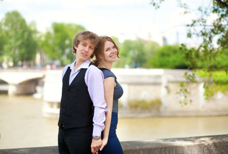 Dating couple in Paris, outdoors Stock Photo - 13792154