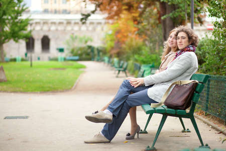 Romantic couple in Paris at fall, having a date photo
