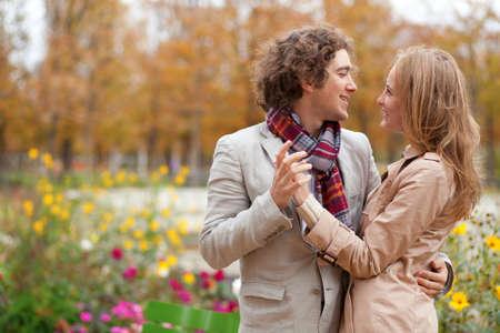 Romantic couple at fall, having a date Banco de Imagens