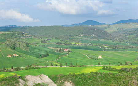 Scenic Tuscan landscape with beautiful hills photo