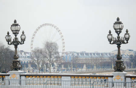 iii: Winter in Paris. Pont Alexandre III covered with snow