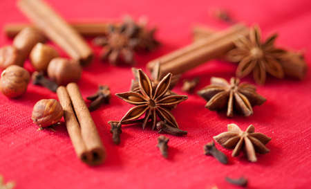 Variation of Christmas spices - star anise, cinnamon sticks and cloves photo