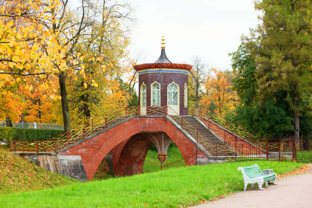 Chinese bridge in Pushkin, Saint-Petersburg photo