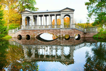 selo: Marble bridge in Catherine park of Pushkin, Saint-Petersburg