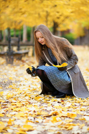 Beautiful girl gathering bright autumn leaves in park photo