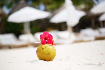 drinking straw: Noce di cocco con cannuccia sul perfetto spiaggia di sabbia bianca tropicale Archivio Fotografico