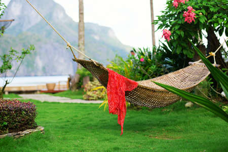 Hammock with red pareo on a tropical resort photo