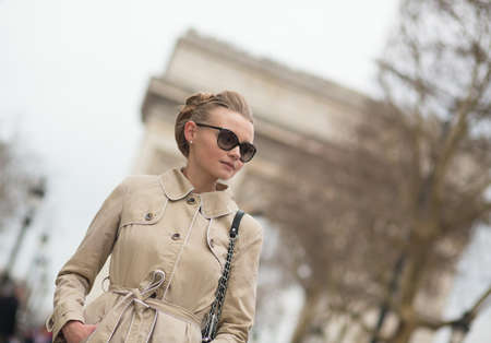 Elegant Parisian woman on Champs-Elysees photo