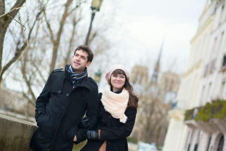 Happy couple in Paris, near Notre Dame Stock Photo - 18551063