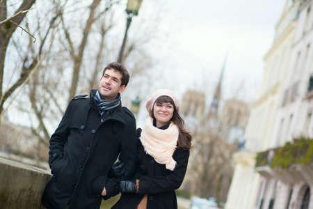 Happy couple in Paris, near Notre Dame Stock Photo - 18551063