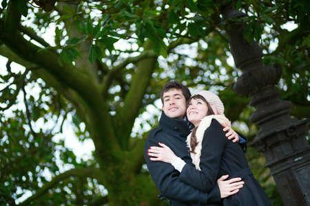 Beautiful couple hugging on Montmartre photo