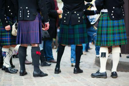 scotland: Men in traditional kilts