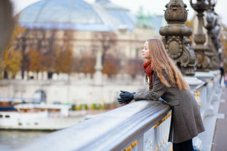 paris street: Romantic girl in Paris by fall