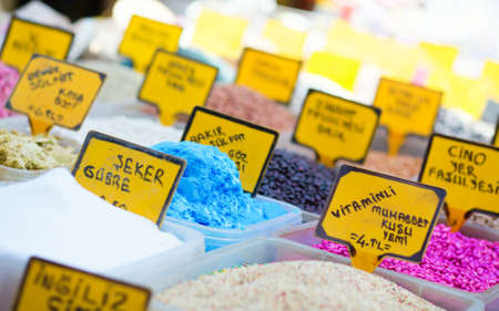 nutriments: Nutriments and fertilizers on the Spice market in Istanbul Stock Photo