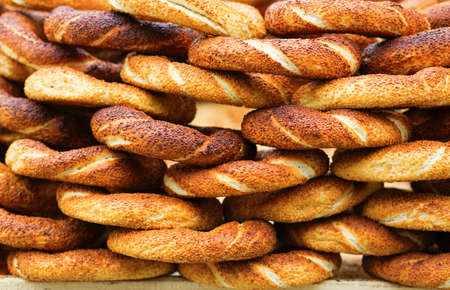 sesame street: Delicious fresh Turkish bagels (also called simits) Stock Photo