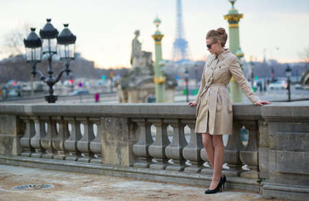 Elegant Parisian woman in the Tuileries garden Stock Photo