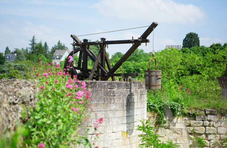 chinon: Medieval water well in Chinon castle, France Stock Photo