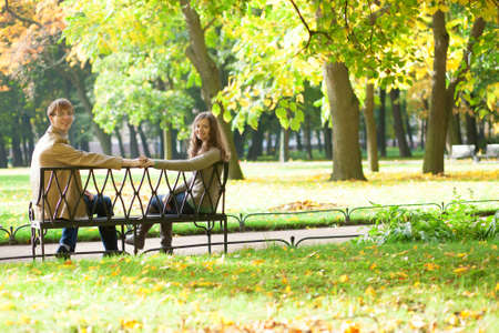 Dating couple in park photo