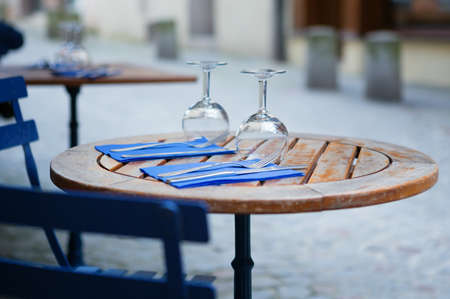 Table of an outdoor French cafe photo