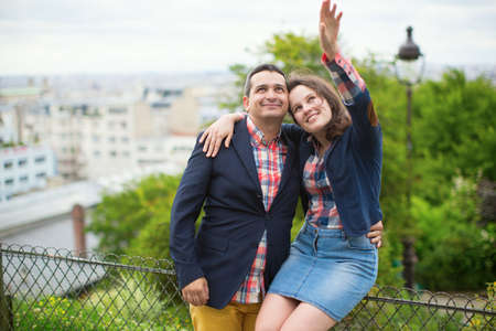 Loving couple on Montmartre photo