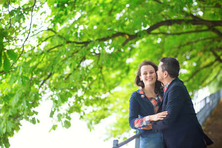 Couple outdoors on a summer or fall day photo