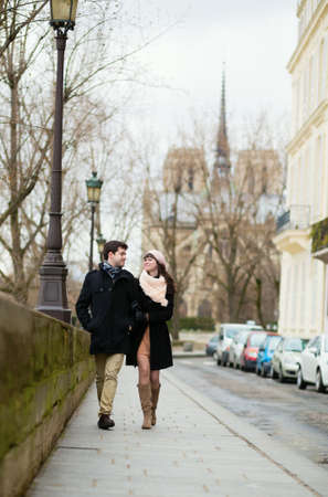 Couple walking in Paris photo