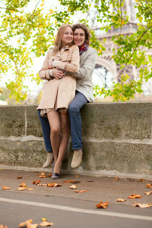 Couple in Paris on a fall day photo