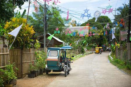 전통적인 크리스마스 장식 Philippino 마을 스톡 콘텐츠