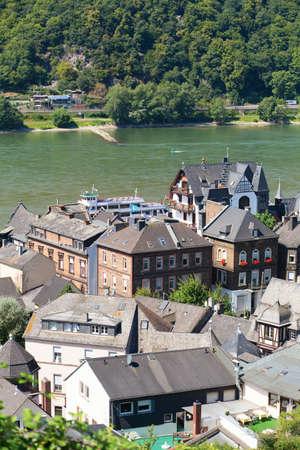rhein: View of Assmannshausen with Rhien river Stock Photo