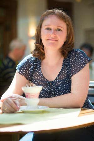 rudesheim: Girl with traditional German rudesheim coffee Stock Photo