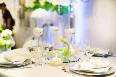 candelabrum: Table set for an event party or wedding reception