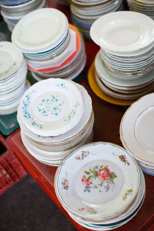 flea market: Antique plates on flea market