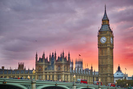 Big Ben and Westminster Bridge with river Thames at sunset, London, UK
