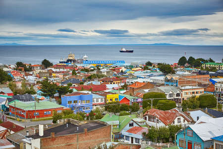 punta arenas: Scenic view of Punta Arenas with Magellan Strait in Patagonia, Chile, South America Stock Photo