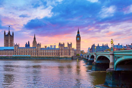 Cityscape of Big Ben and Westminster Bridge with river Thames at sunset, London, UK