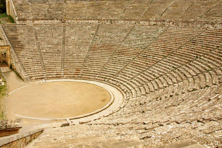 surviving: Ancient theater in Epidaurus, Greece. The theater is the largest surviving theater in Greece and marveled for its exceptional acoustics Stock Photo
