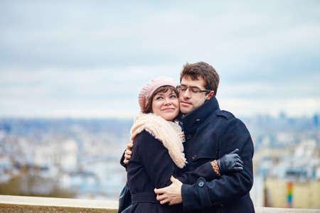 Happy romantic couple on Montmartre in Paris photo