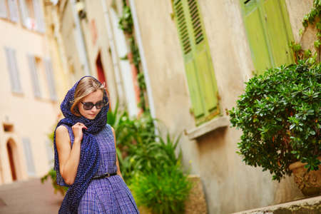 french woman: Elegant French woman in Cannes, at Le Suquet