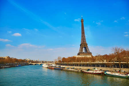 la tour eiffel: Scenic view of the Eiffel tower across the Seine on an early spring day Stock Photo