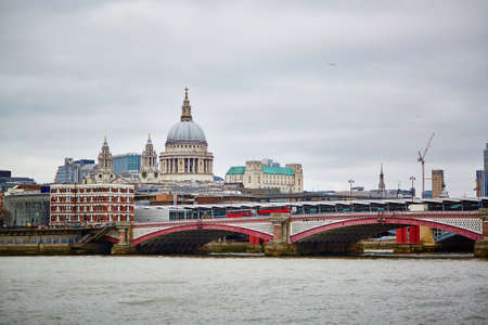 st   pauls cathedral: London skyline with St. Pauls cathedral and river Thames Stock Photo