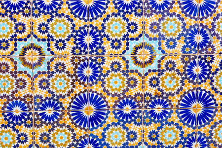 baukunst: Old wall decorated with beautiful mosaics in Marrakech, Morocco Stock Photo