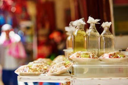 Argan oil on Moroccan market (souk) in Fes, Morocco Stock Photo