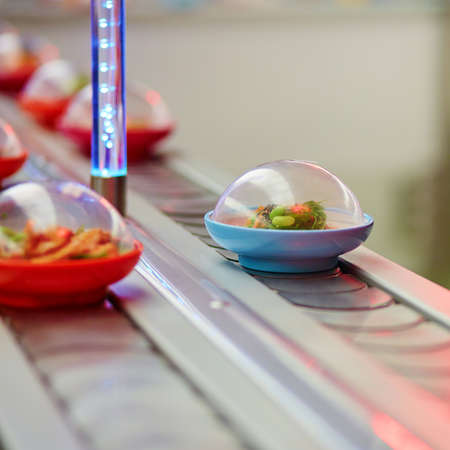 Sushi plates on rails in Japanese restaurant, motion blur photo