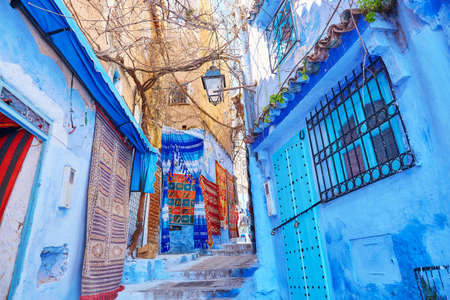 Street in Medina of Chefchaouen, Morocco, small town in northwest Morocco known for its blue buildings Zdjęcie Seryjne